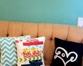 Love Print Pillow Cover in Navy