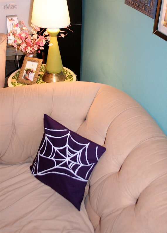 SALE Spiders Web Pillow Cover in White and Purple