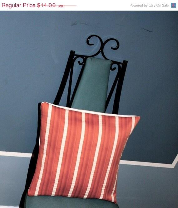 """SALE Orange and Cream Striped Pillow Cover 15X15"""""""