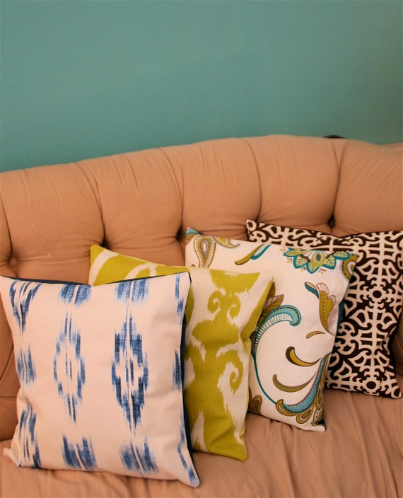 Blue and Cream Ikat Pillow Cover