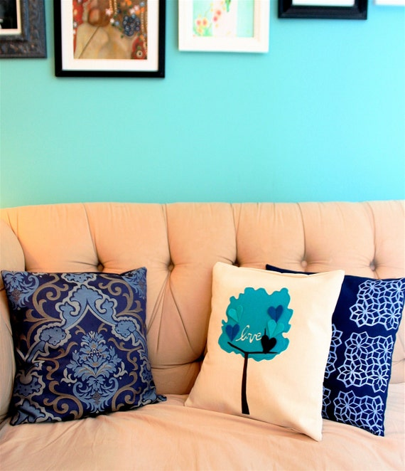 Navy Blue Damask Pillow Cover