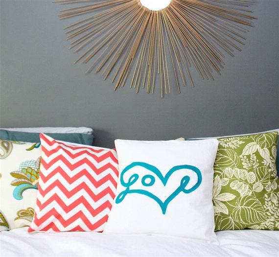 "Coral Chevron Pillow Cover 18X18"""