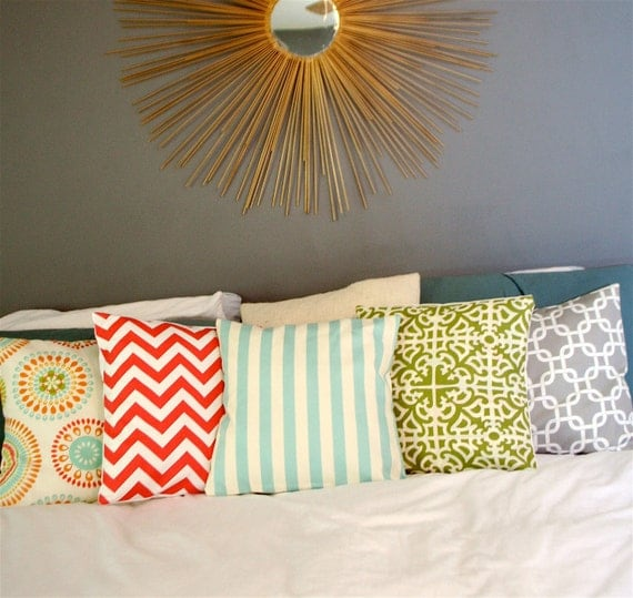 Robins' Egg Blue and Cream Stripe Pillow Cover 18X18""