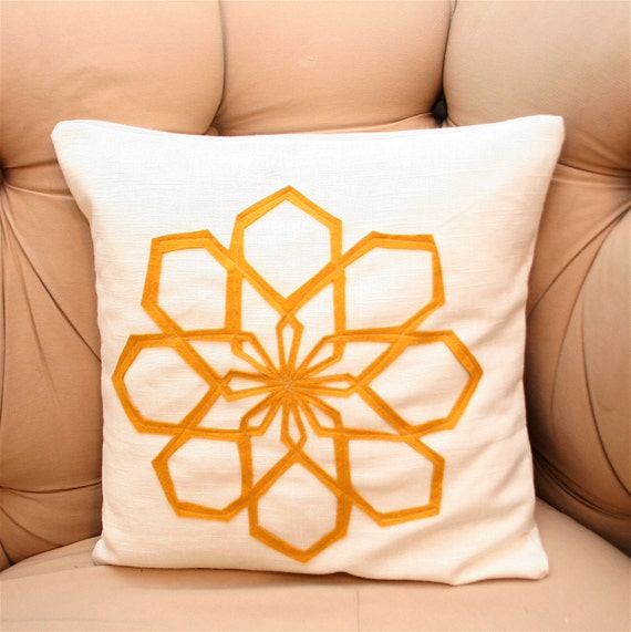 Geo Modern Flower Pillow Cover in Mustard