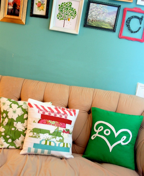 Love Pillow Cover in Green