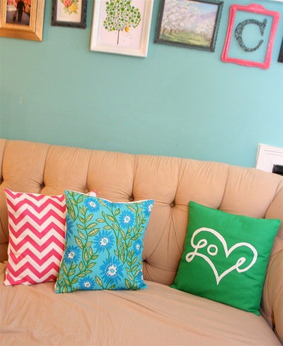 "Green and Aqua Floral Pillow Cover 18X18"""