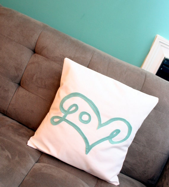 Love Pillow Cover in Robin's Egg Blue
