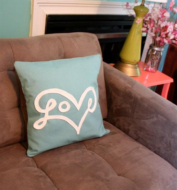 Love Pillow Cover in Aqua
