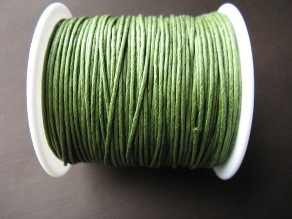 SALE - cotton waxed cord - 0.5mm dark green (10m) 25 percent off