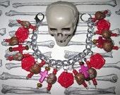 Sugar Skull Charm Bracelet Day of The Dead Jewelry Dia De Los Muertos Sugar Skull Jewelry Roses Crosses Beads Mexican Style Jewelry OOAK