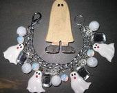 Ghost Bracelet Halloween Ghost Jewelry Charm Bracelet Beads OOAK Statement Piece Handmade Spooky Cute Fun Halloween Costume Accessory
