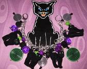 Black Cat Charm Bracelet Halloween Jewelry OOAK Voodoo Zombie Kitties Vintage Style Eclectic Statement Piece