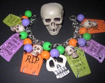 Halloween Charm Bracelet Halloween Jewelry Tombstone Bracelet Ghouls Graveyard Grave Skulls OOAK Psychobilly Statement Piece Chunky Fun Wild