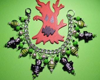 Skeleton Bracelet, Grim Reaper, Halloween Charm Bracelet, Halloween Jewelry, Halloween Bracelet, Skull, Spooky, Cute, Charms, Beads, OOAK