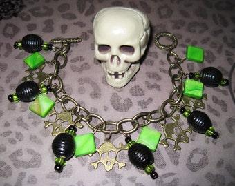 Skull Charm Bracelet Skull Bracelet Skull Jewelry Green Black Beads Gothic Punk Rock Emo Scene Rock n' Roll Psychobilly OOAK Jewelry