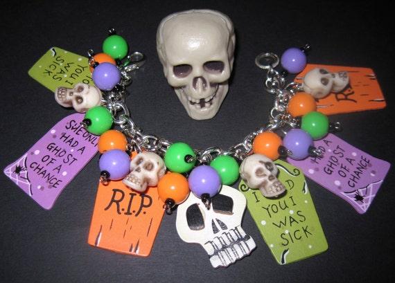 Halloween Charm Bracelet, Halloween Jewelry, Tombstone Bracelet, Ghouls, Graveyard, Grave, Skulls, OOAK, Psychobilly, Chunky, Beads, Charms