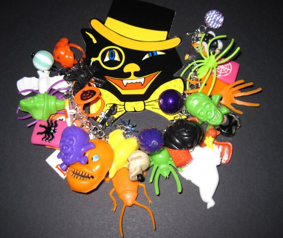 Halloween Charm Bracelet Gumball Machine Junk Toy Box Cracker Jack Prize OOAK Loaded Eclectic Statement Piece JOL Spider Bat Ghost Skull Bug