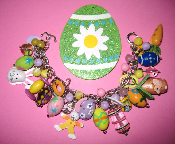 Easter Charm Bracelet Jewelry Bunny Eggs Chicks Charms Beads & Trinkets Repurposed Upcycled Statement Piece