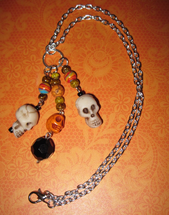 Sugar Skull Necklace Day of The Dead Dia De Los Muertos Mexican Jewelry Beads Pirate Punk Goth Rockabilly OOAK FREE SHIPPING