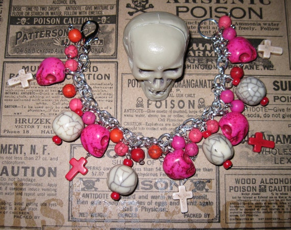 RESERVED for Sue Sugar Skulls Charm Bracelet  Day of The Dead Jewelry Mexican Themed Jewelry Crosses OOAK Eclectic Statement Piece