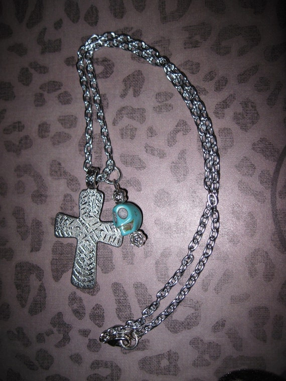 Sugar Skull Necklace Day of The Dead Mexican Jewelry Charm Pendant Cross Turquoise Skull Rose Beads Rockabilly OOAK Free Ship US or Canada