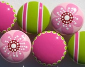 Set of 6 Hand Painted Drawer Knobs: Hot Pink and Lime Green Striped and Spotted and Cherry Blossom Pale Pink, Polka Dots, Spots and Stripes