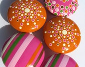 Set of Hand Painted Drawer Knobs: Hot Pink, Pale Pink, Pumpkin Orange, Chocolate Brown and Green, Striped, Spotted and Dotted Pulls