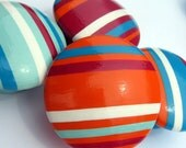 Striped Hand Painted Drawer Knob - Deep Pink Red, Orange, Turquoise or Robin's Egg Blue, Decorative Dresser Pull