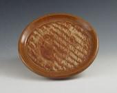 Handmade Ceramic Coaster/ Stoneware Spoon Rest / Soap Dish, Shades of Tan and Brown   v319
