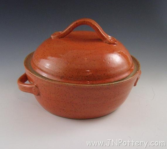 Stoneware Lidded Casserole / Ceramic Covered Server,  Burnt Orange Pumpkin Color with Chocolate Brown Interior  s136
