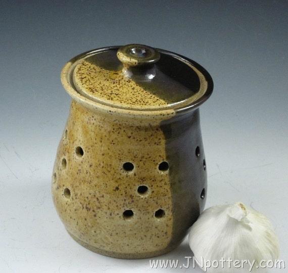 Stoneware / Ceramic Garlic Keeper / Pierced Jar, Straw and Temmoku  s166
