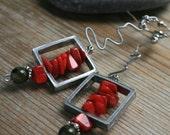 long modern coral earrings