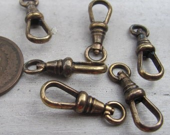 1-20pcs LOT! Vintage swivel clips NOS lanyard clasp Signed Germany bulk oxidized bronze brass antiqued patina pocket watch chain parts m107