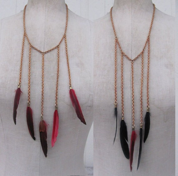 CLOSEOUT 2x pcs. Wholesale lot FEATHER Necklace Found Object  multi strand long fringe drippy drip  n35