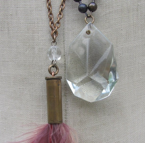 Vintage boho Necklace lot Sale Necklace 2x pc WholeSale brass Bullet feather tassel fringe flapper faceted crystal drop upcycled pendant  k