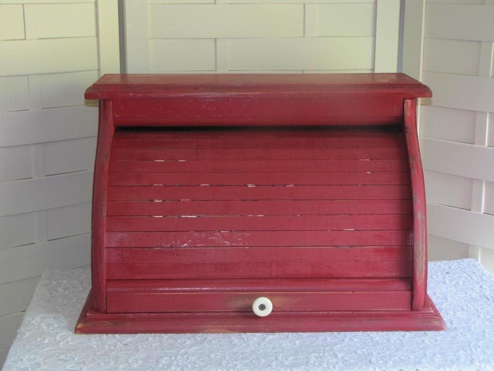 Vintage Wooden Roll Top Bread Box Colonial Red Distressed