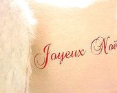Made To Order White Linen Blend Joyeux Noel Ruffle SLIP COVER