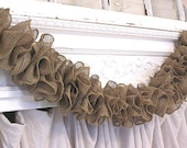 WEDDING Rustic Prairie Hand Made Natural Brown Ruffle Burlap Garland