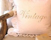 """Made To Order Shabby French Chic White Linen Pillow (Slip Cover Only) Faded Brown """"VINTAGE""""Design"""