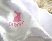 Shabby Cottage Pink Chic Easter Tea Towel (Pink Bunny)