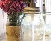 Glass Kerr Mason Canning Jar Vintage Zinc Lid Flat Head Bronzed Metal Pump Dispenser (QUART)