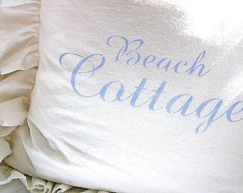 Made to Order White Linen Blend Ruffled SLIP COVER Porch Blue Beach Cottage Script Design