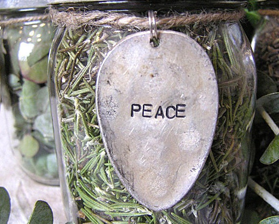 Glass Kerr Mason Canning Jar Vintage Zinc Lid Rosemary PEACE Metal Spoon Design