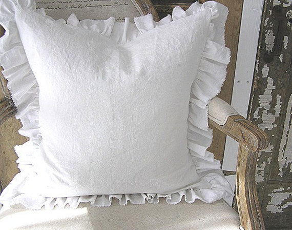 Made To Order White Linen Cotton Blend Ruffle SLIP COVER (Plain Front)