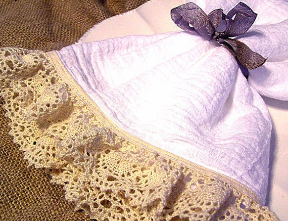 Shabby Vintage Chic Flour Sack Tea Towel (Beige Crochet Lace)
