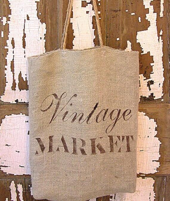 Hand Made Natural GREEN Burlap Shopping Bag Tote Purse Vintage Market Script Design