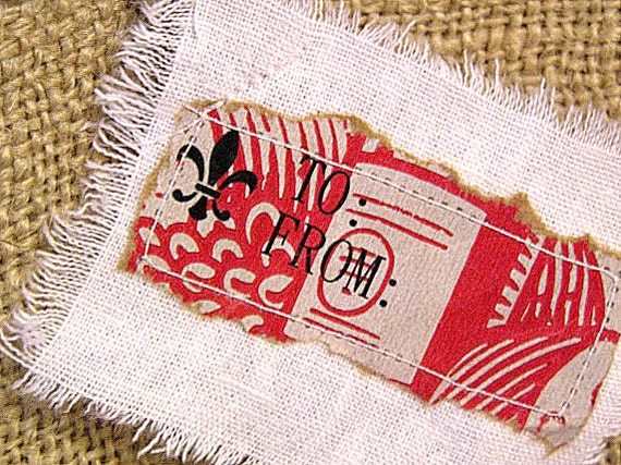 Rustic French Prairie White Linen Red Recycled Paper Gift Tags (TO-FROM)