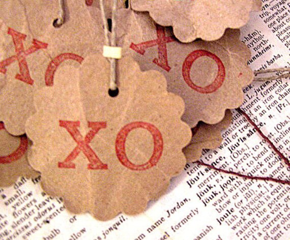 Recycled Brown Paper Gift Tags Valentine XO Design (1 dozen)