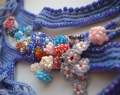 Locus Amoenus  Freeform Beaded Crochet Necklace - Flowers