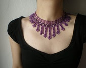 Galactic Filaments --- Purple / Lilac  ... Beaded Crochet Necklace - Flowers